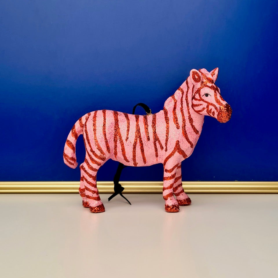 Glitter Zebra Ornament