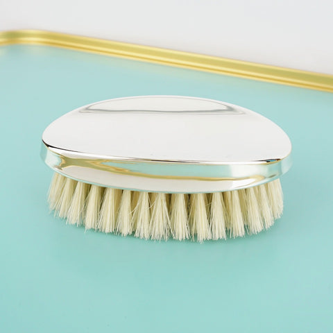 Silver Military Hairbrush - Blue Bowl