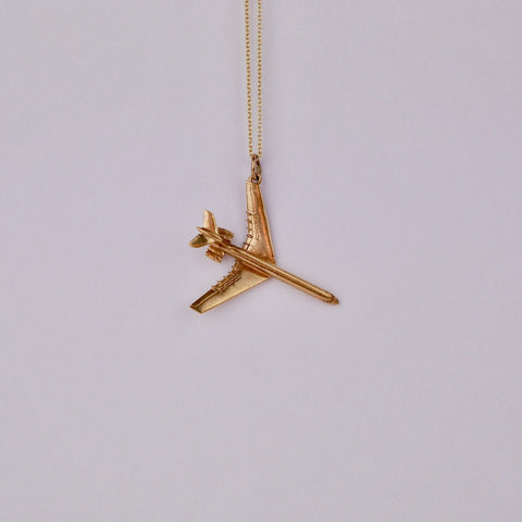 Aeroplane Gold Charm - Blue Bowl