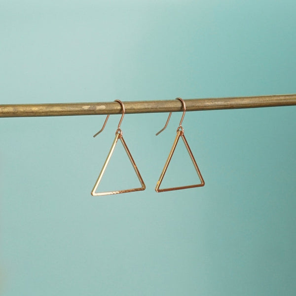 Rose Gold Triangle Earrings - Blue Bowl