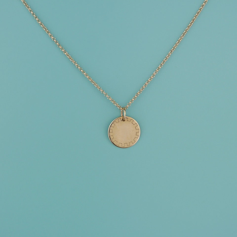 Round Gold Charm - Blue Bowl