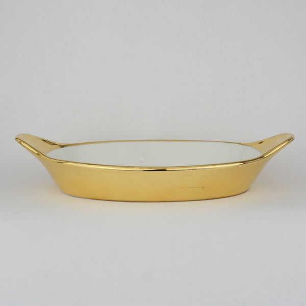 Two Gold Oval Earred Dishes