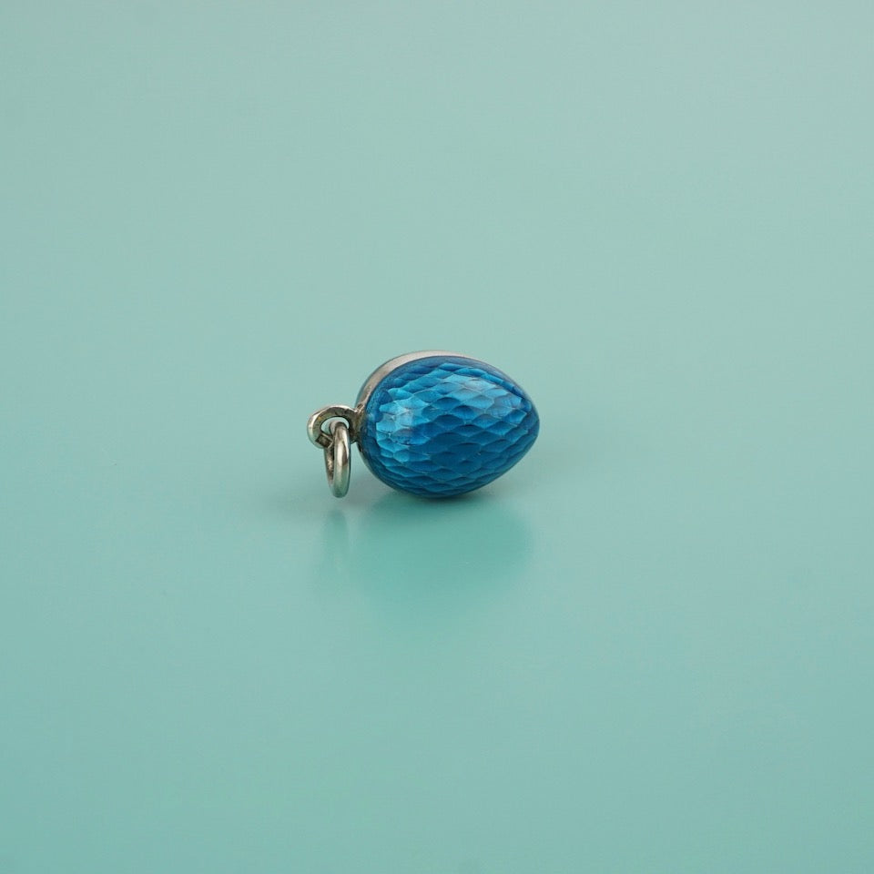 Silver Enamel French Egg Charm