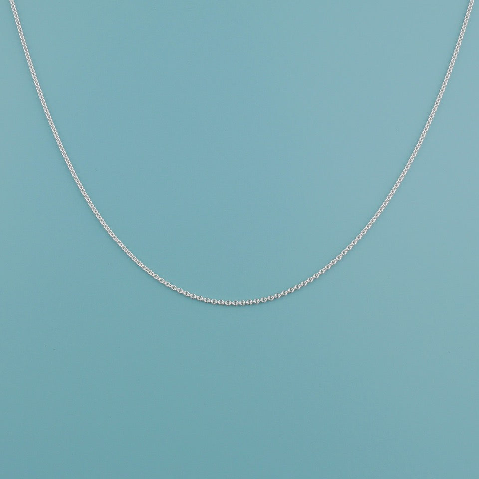 Silver Chain Necklace - Blue Bowl