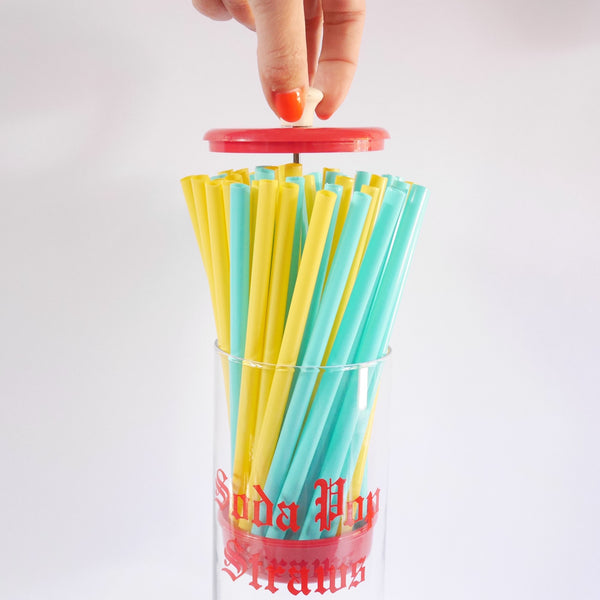 Glass Straw Dispenser - Blue Bowl