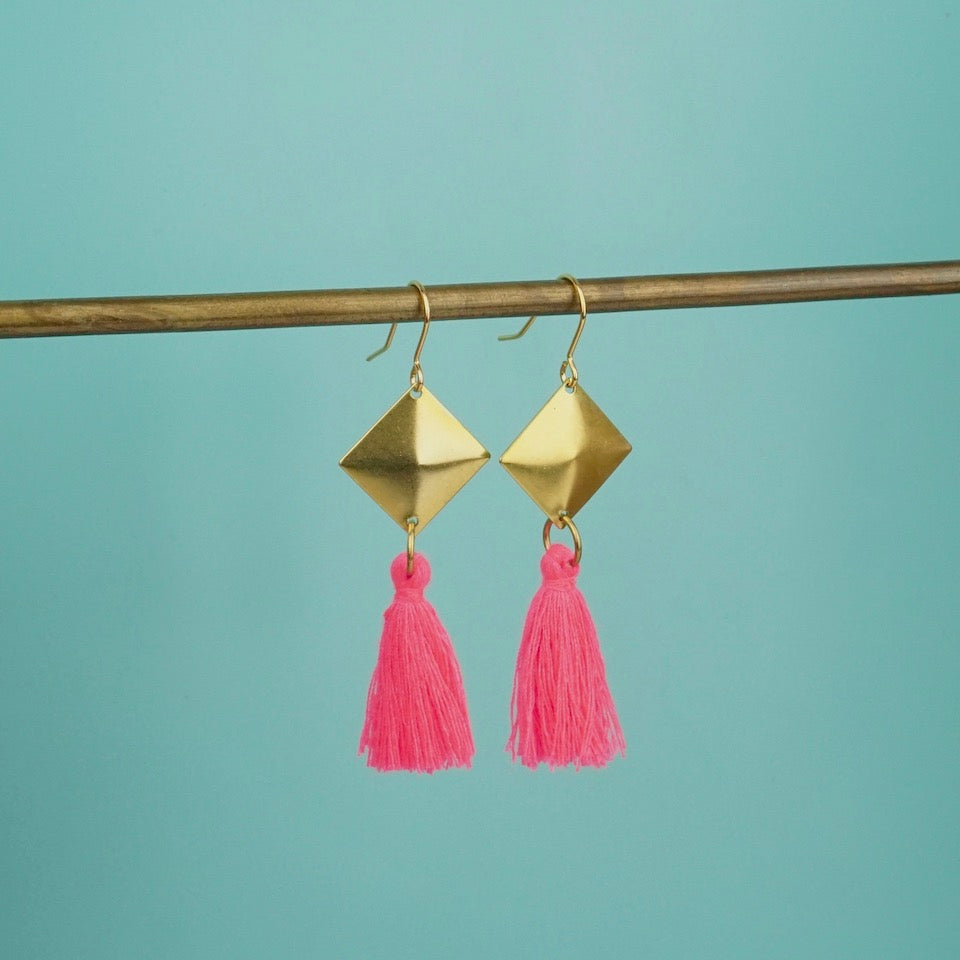 Gold Tassel Earrings - Blue Bowl