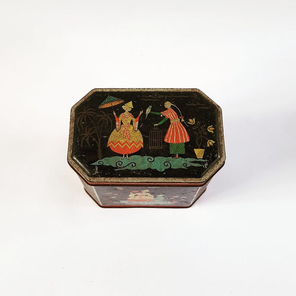 Vintage Tea Tin - Blue Bowl