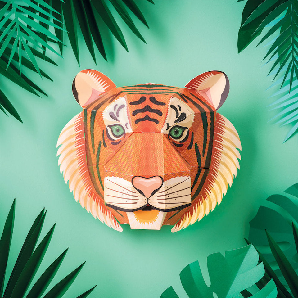 Make Your Own Majestic Tiger Head - Blue Bowl