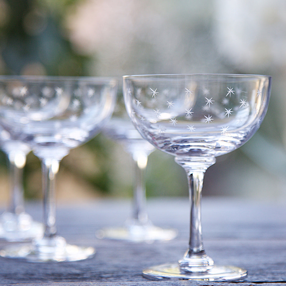 Champagne Glasses - Blue Bowl