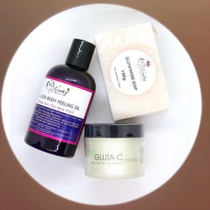 Peeling oil with Gluta-C and skin whitening glutathione soap
