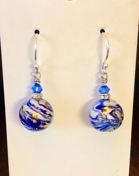 fancy blue earrings