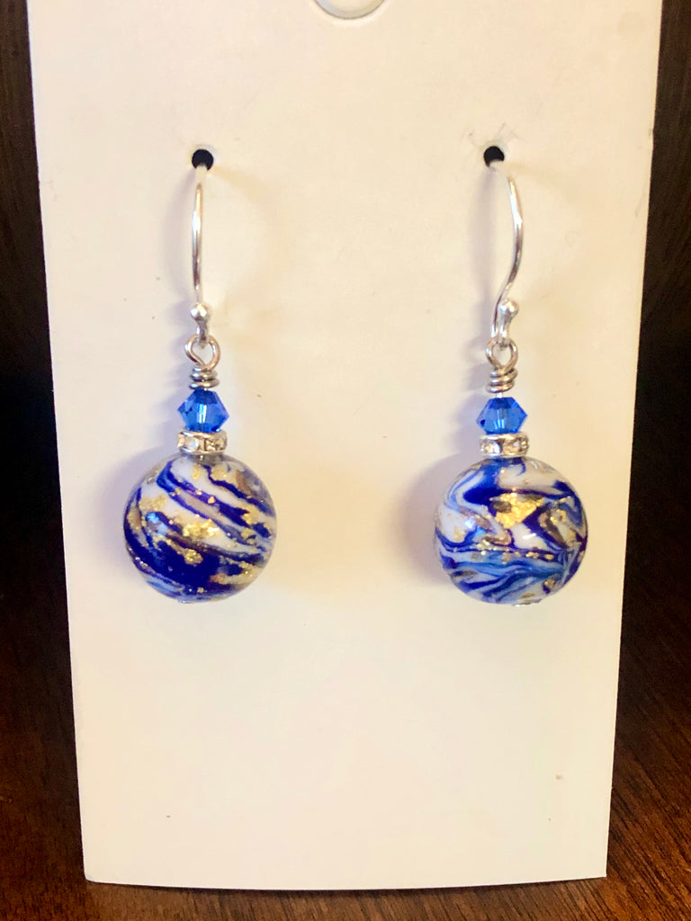 stunning blue murano glass earrings