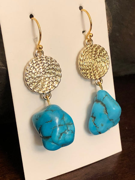 Turquoise with Matrix Nugget Earrings, Gold Round Filigree, Boho Style, Perfect Gift