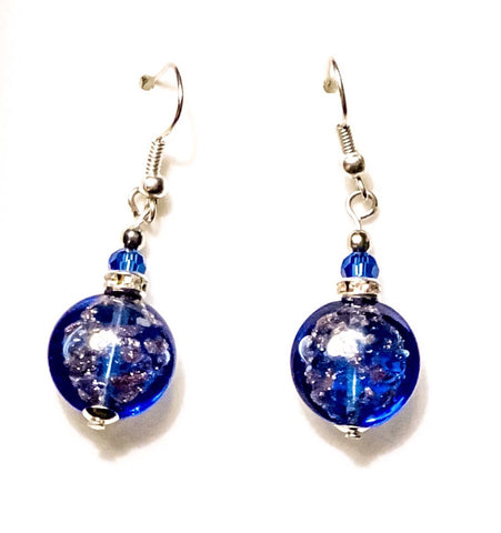 Authentic Venitian Murano Glass Drop Earrings in Cobalt Blue - BeBlemishFree.Com