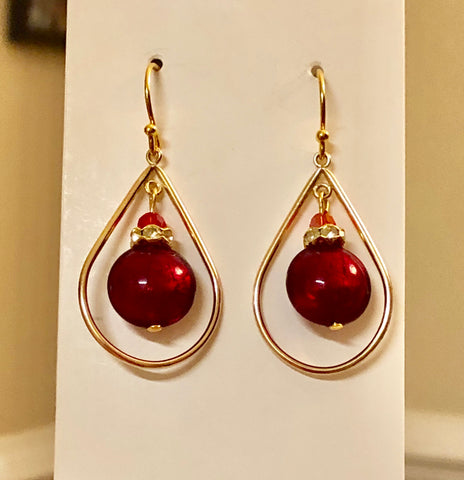 Wine Red Venetian Murano Disc Teardrop Gold Filled Hoop Earrings