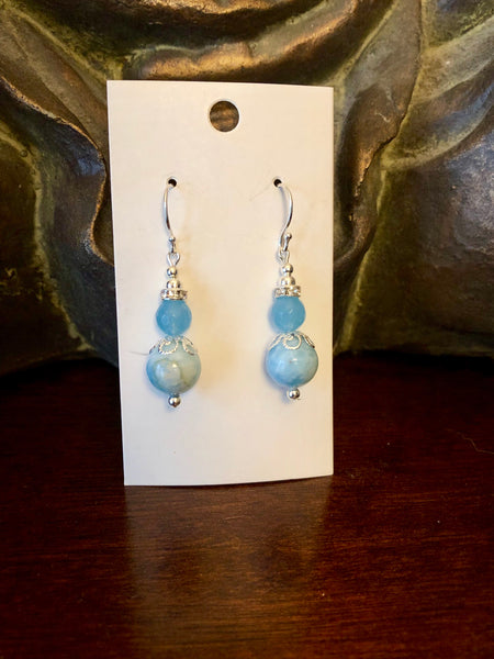 Genuine Blue Jade and Jasper Dangle Earrings