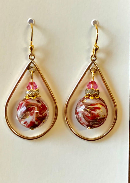 Marbled Murano Disc Gold Filled Teardrop