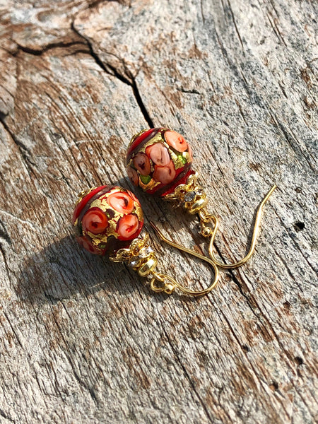 Bed of Roses Murano Glass Earrings in Red