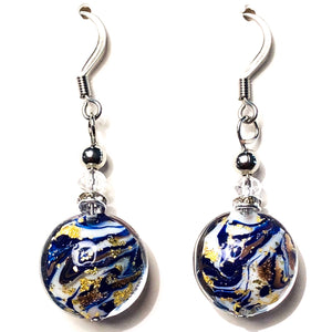 Marmo Aventurina Murano Glass Earrings - BeBlemishFree.Com