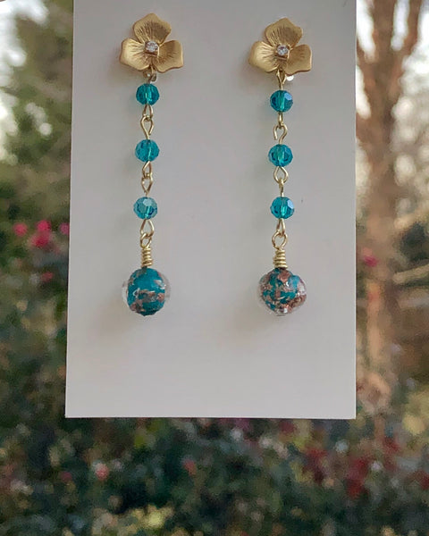 Genuine Venetian Beads with Swarovski Drop Earrings