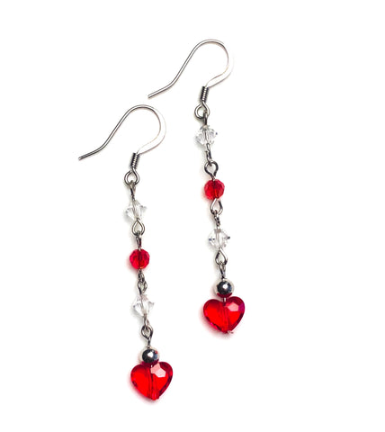 Lovely Heart Drop Earrings - BeBlemishFree.Com
