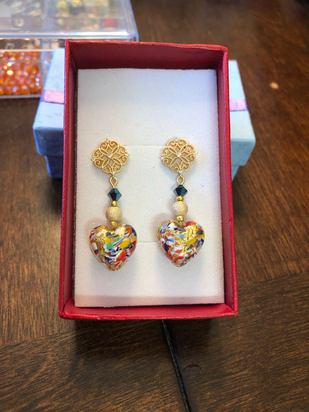 Beautiful 24kt Gold Foil Murano Heart Dangle Earrings