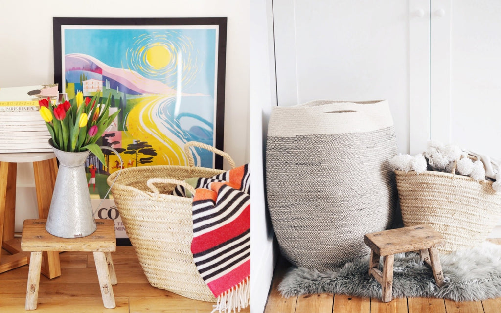 Baskets filled with comfy throws - perfect Autumnal home decor