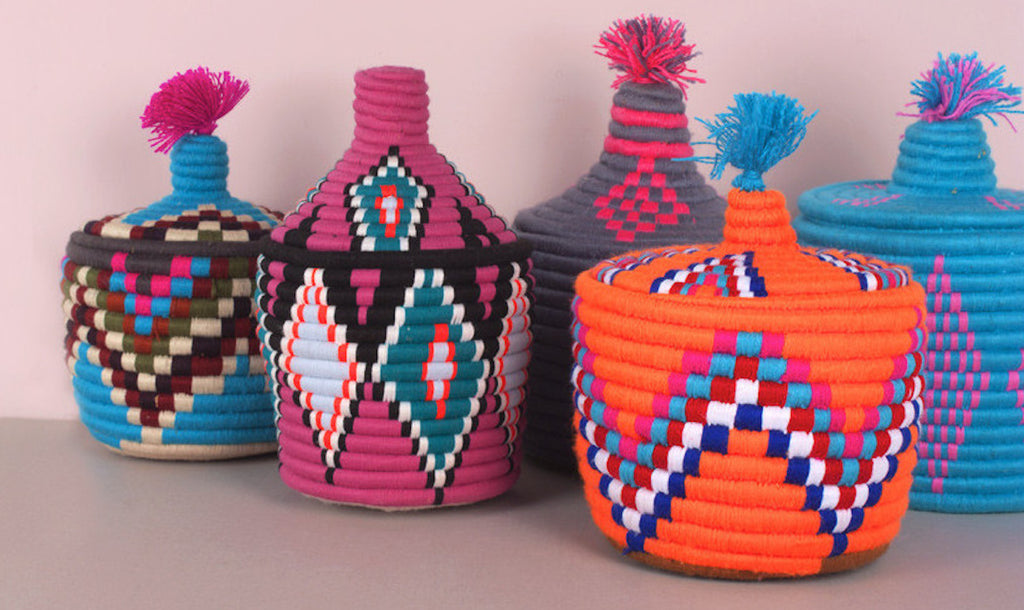 Vintage Woven Storage Pots - Postcards Home