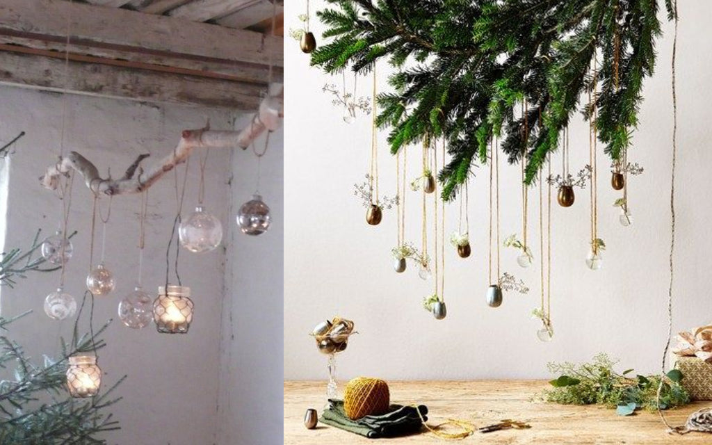 Hanging Christmas Lanterns and Baubles from Branches