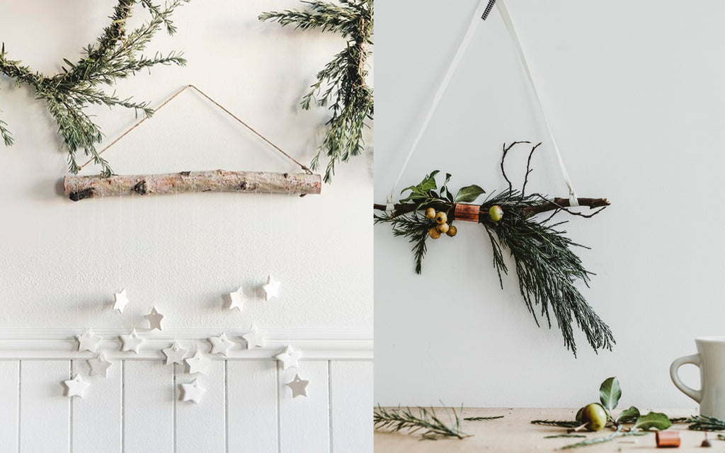 Scandi Christmas Decorations using neutral colours against branches