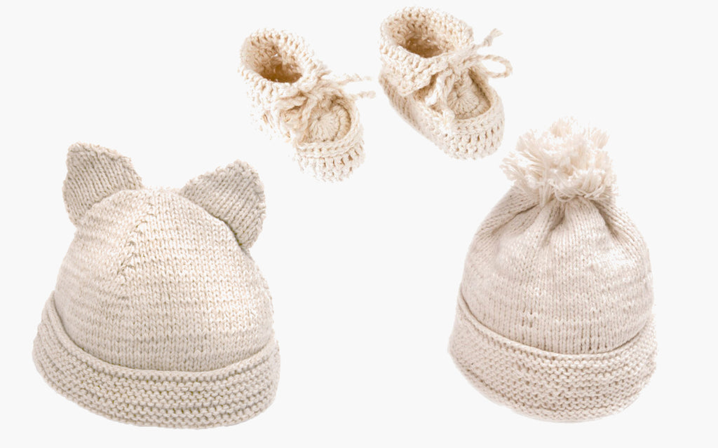 Handmade hats and booties for babies