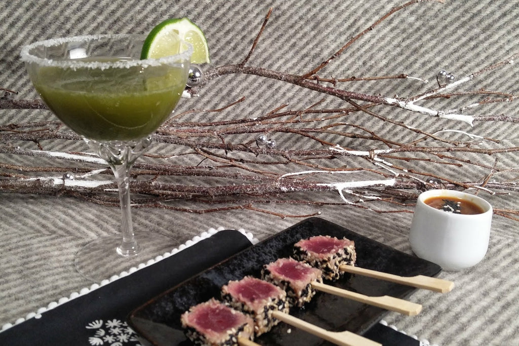 """Merry Making"" Matcha Margaritas with Sesame Seared Tuna and Miso Dipping Sauce"
