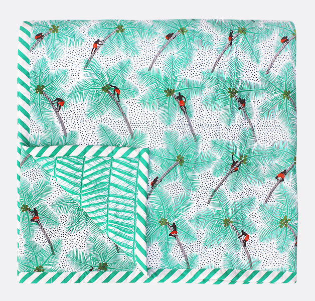 Coconut Palm Pickers Double Quilt from Safomasi