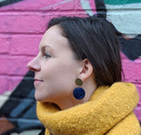 Deep Blue Double Disc Studs - Fair Trade Jewellery from Just Trade