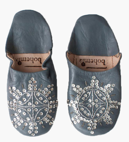 Babouche Sequin Slippers, Slate - Postcards Home