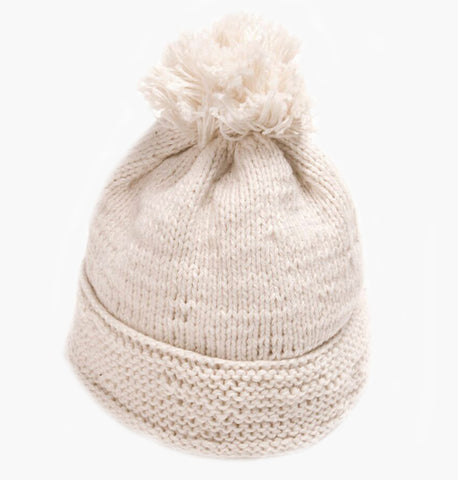 Baby Hat with Bobble - Handmade in Peru from organic cotton