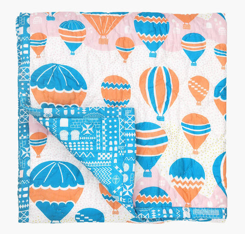 Balloons at Dawn Baby Quilt - Handmade by Safomasi