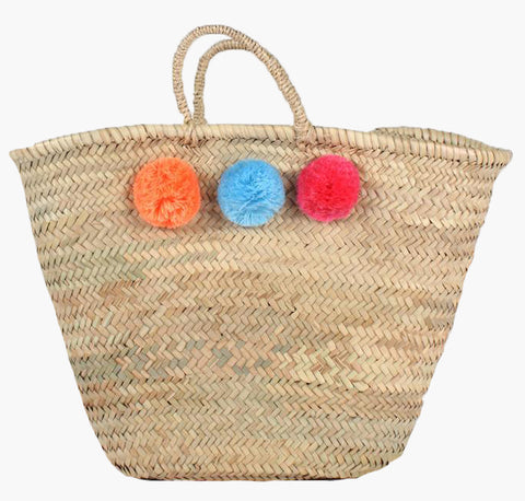 Handmade Sustainable Basket with Colourful Pom Poms