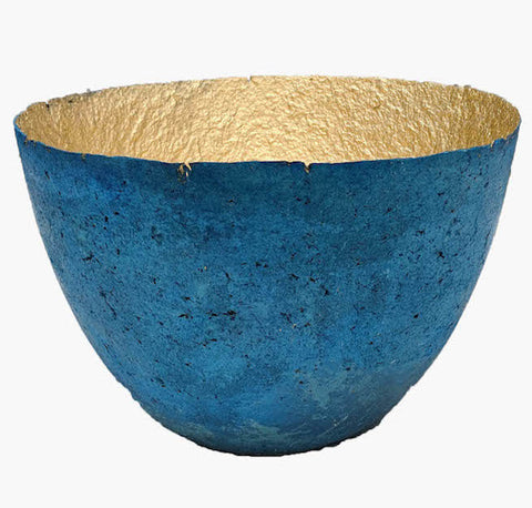 Large Metallic Paper Bowl - Blue - Ethical Homeware