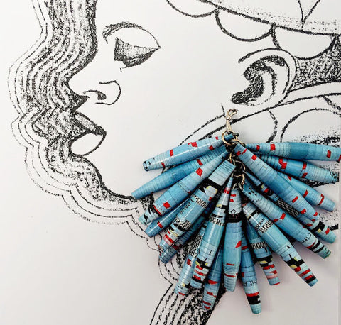 Paper Drop Earrings - Baby Blue