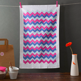 Pink and Blue Chevron Tea Towel