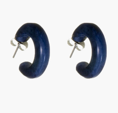 Deep Blue Small Hoop Studs - Fair Trade Jewellery from Just Trade