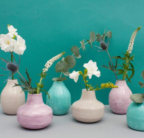 Enamel Bud Vase Trio, Cream - Ethically Handmade in India
