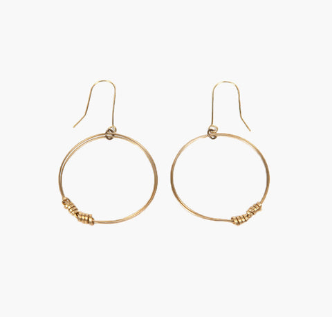 Brass Ribbon Single Hoop Earrings