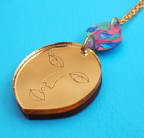 Gold Lady Necklace - Handmade Jewellery - Melody G at Postcards Home