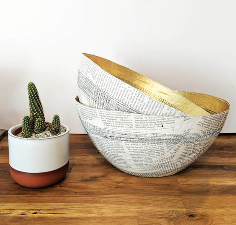 Gold Stitched Paper Bowl - Upcycled Magazines - Ethical Homeware