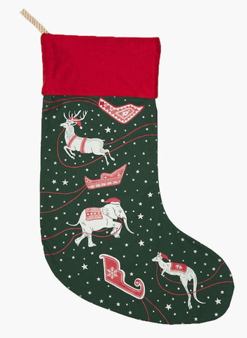 Green and Red Christmas Stocking with Silver Stars