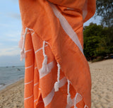 Turkish Hammam Towel - Orange - Postcards Home - Handmade in Turkey - Travel