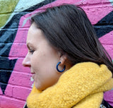 Deep Blue Large Hoop Studs - Fair Trade Jewellery from Just Trade