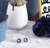Deep Blue Small Circle Studs - Fair Trade Jewellery from Just Trade